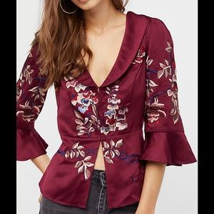 Free People Beautiful Dreams Embroidered Blouse